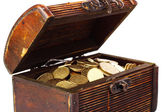 Chest with coins (Ukraine) isolated on white — Foto Stock
