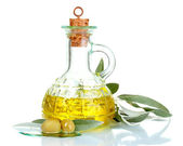 Olive oil in jars and olives — Stock Photo