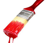 Brush with bright red paint — Stock Photo