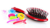 Hairbrush, barrette and Scrunchy isolated on white — Stock Photo