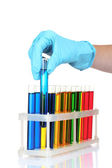 Test tubes and hand — Stock Photo