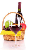 Wine, glass and fruits isolated on white — Stock Photo