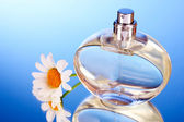 Perfume and flowers on blue background — Stock Photo