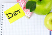 Planning of a diet. Notebook — Stock Photo