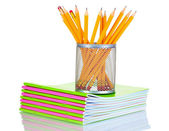 Tužky v držáku a notebooky — Stock fotografie