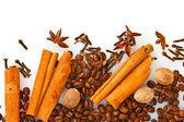 Cinnamon, coffee and spices — Stock Photo