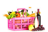 Frutta e vino in un cestino — Foto Stock
