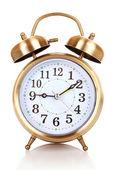 Old alarm-clock on blue background — Stock Photo