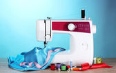 Sewing machine and fabric — Stock Photo