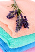 Terry towels and lavender — Stock Photo