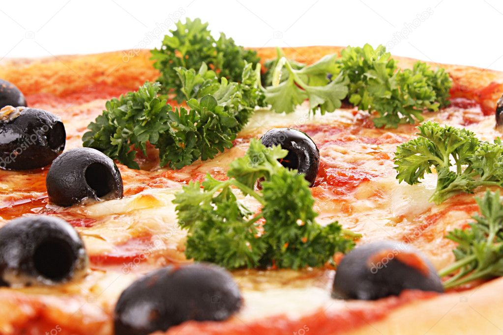 Pizza with olives isolated on white — Stock Photo #6790178