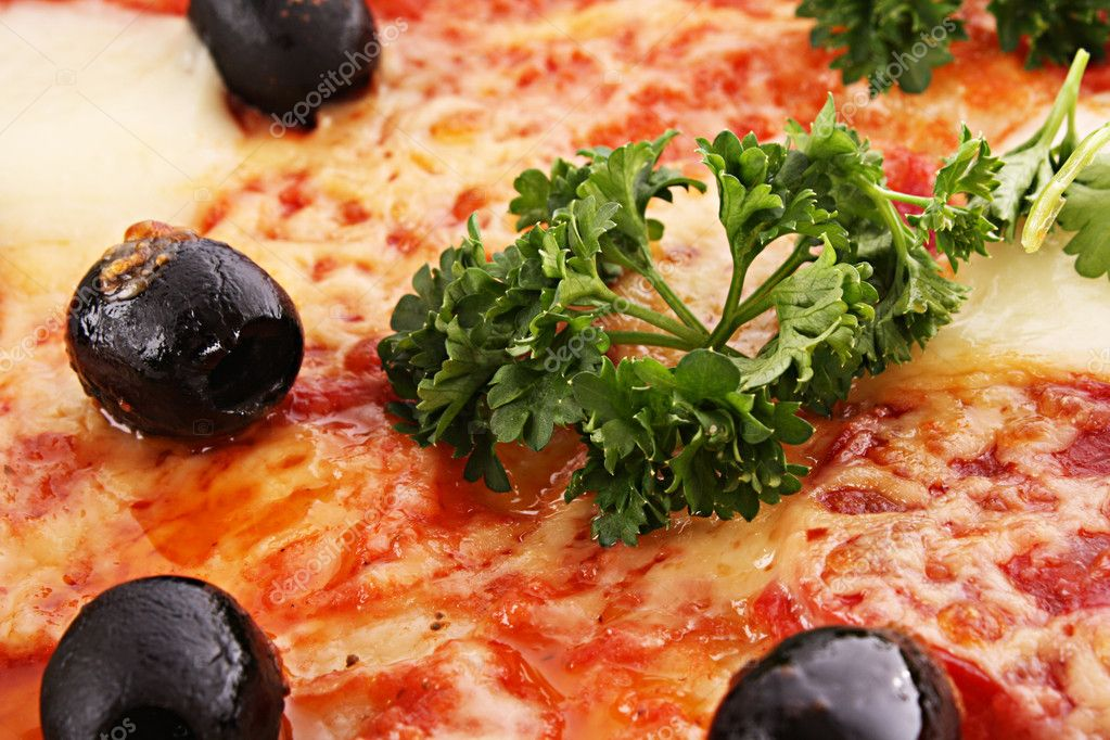 Pizza with olives closeup  Stock Photo #6790193