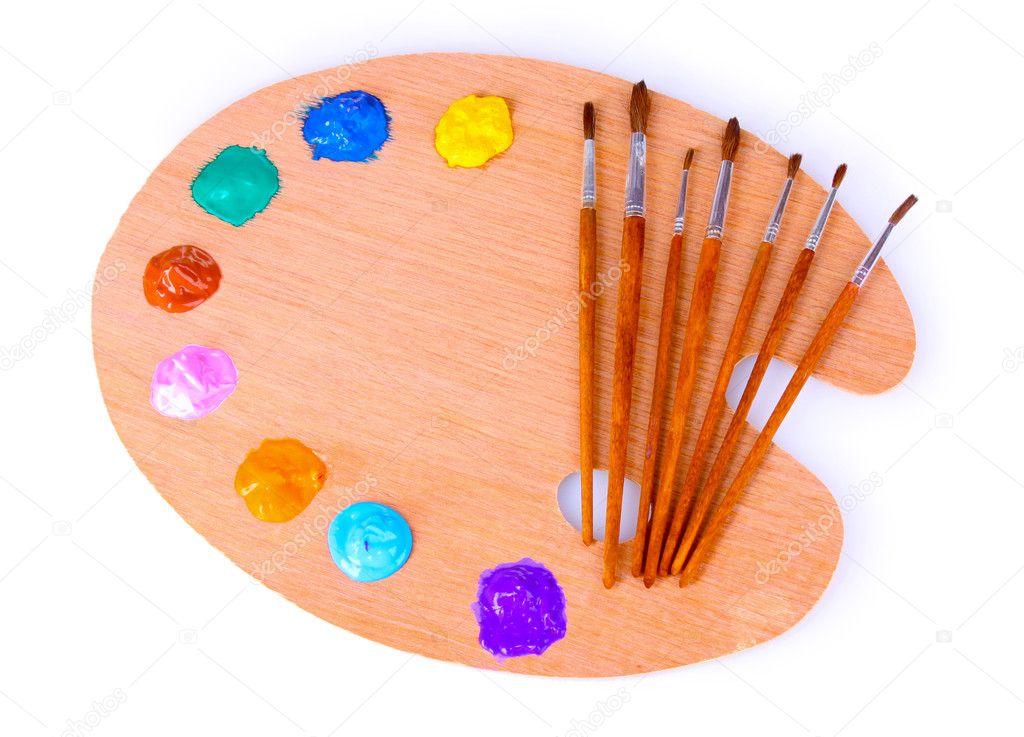Paleta de madera arte con manchas de pintura y un pincel - Paleta de pinturas ...