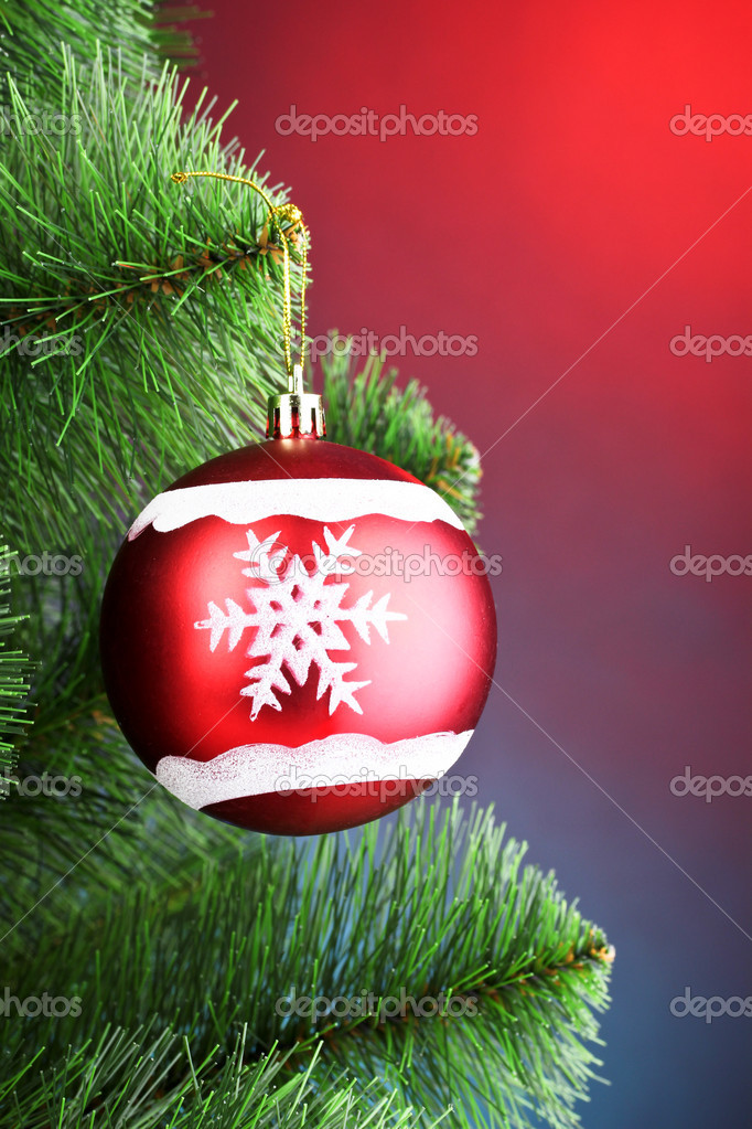 Beautiful Christmas red ball on fir tree — Stock Photo #6794309