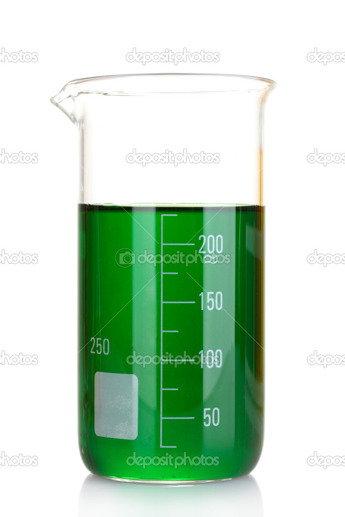 Beaker with green isolated on white — Stock Photo #6794604