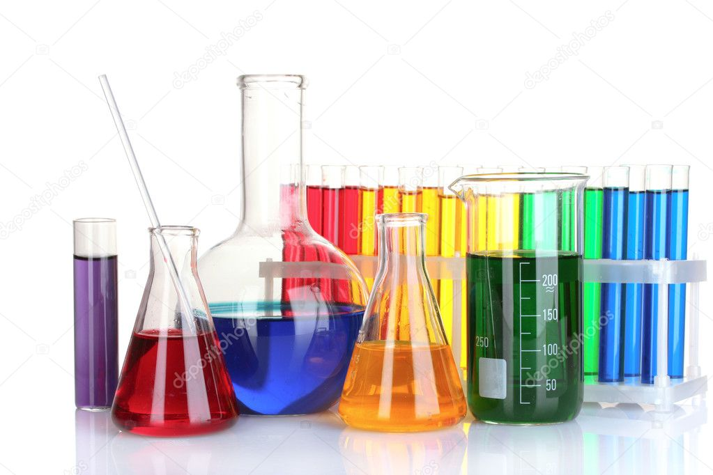 Test tubes with colorful liquids isolated on white — Stock Photo #6794639