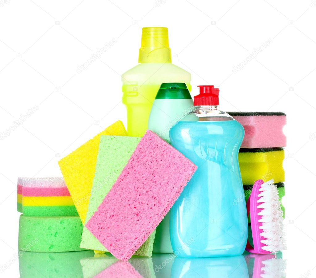 Detergent bottles, brush and sponges isolated on white  Stock Photo #6794688