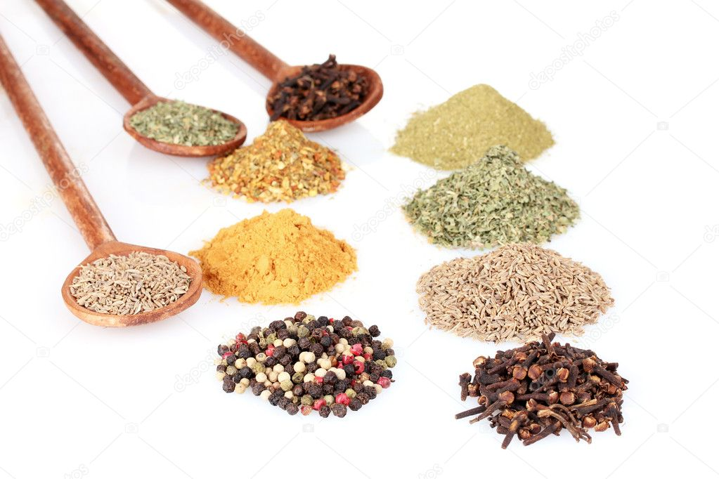Spices in the spoons isolated on white  Stock Photo #6796411