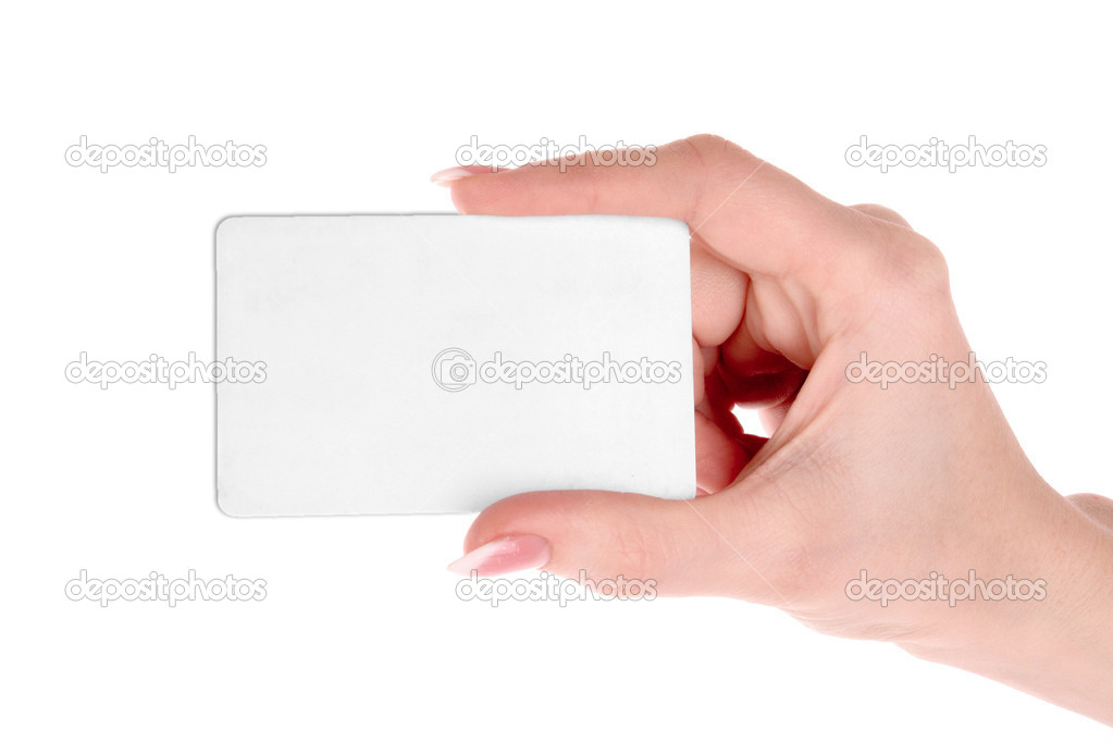 Hand and card isolated on white — Stock Photo #6796423