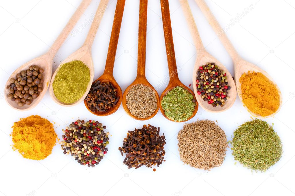 Spices in the spoons isolated on white  Stock Photo #6796435
