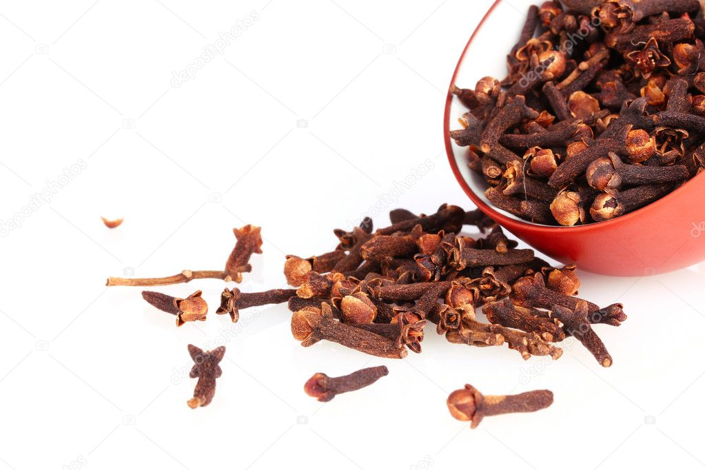 Spice cloves in a bowl isolated on white — Stock Photo #6796717