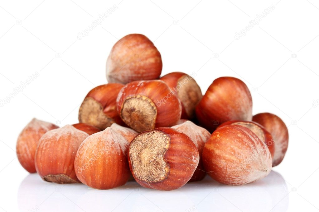 Hazelnuts isolated on white — Stock Photo #6796883