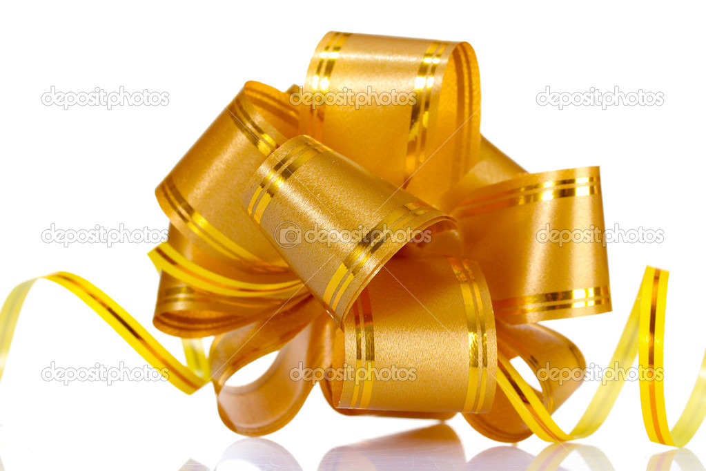 Yellow bow isolated on white — Stock Photo #6798815
