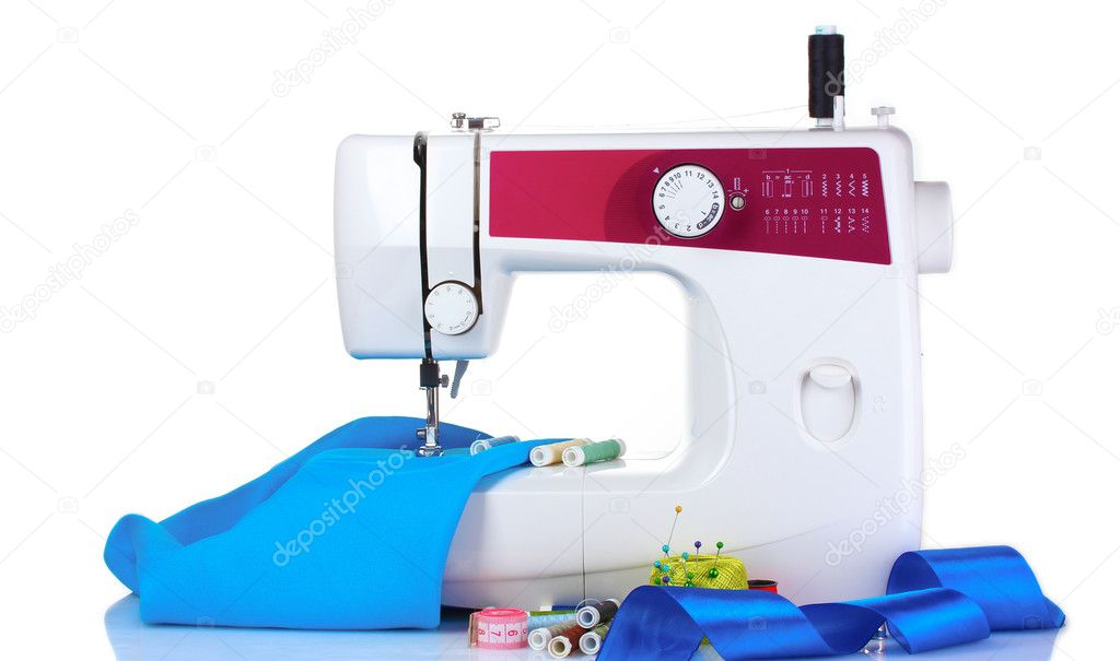Sewing machine and fabric isolated on white  Stock Photo #6798824