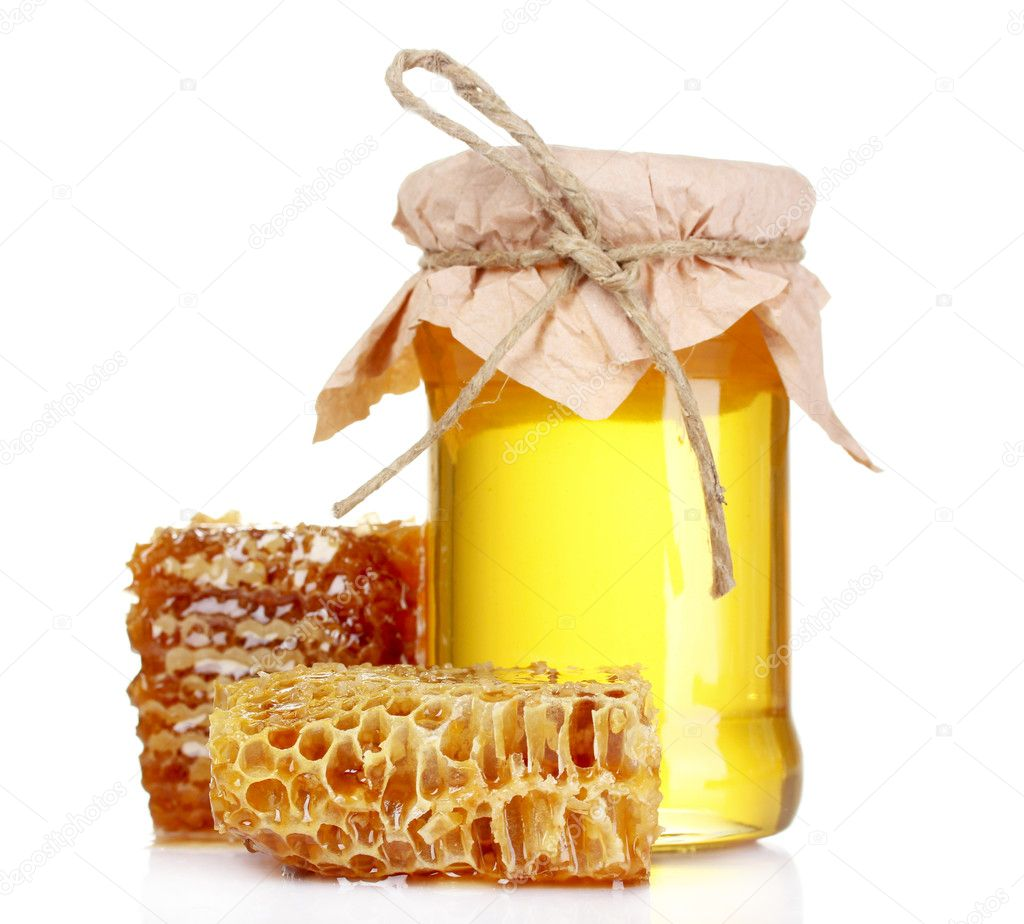 Beautiful combs and honey isolated on white — Stock Photo #6798914