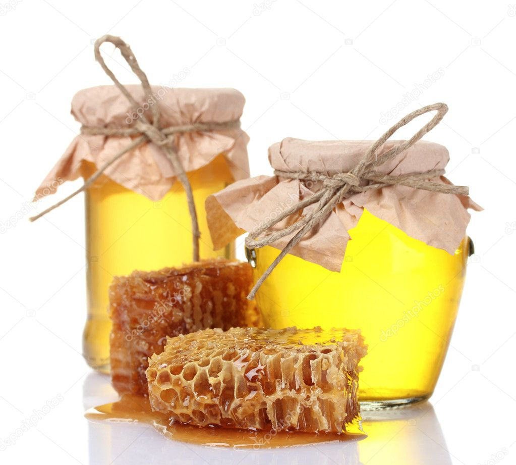 Beautiful combs and honey isolated on white — Stock Photo #6798947