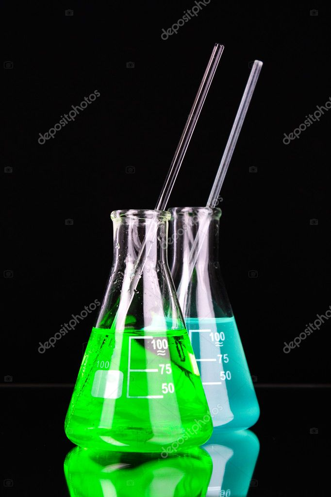 Laboratory glassware on black background — Stock Photo #6799005