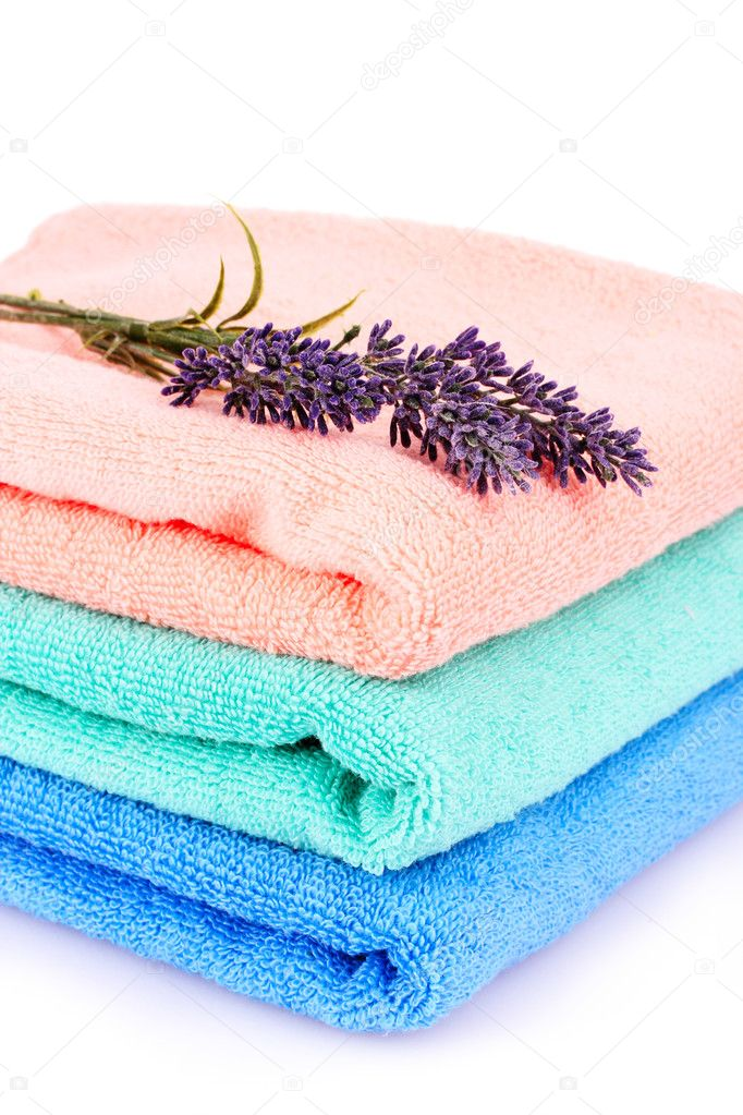 Beautiful bright towels and lavender isolated on white — Stock Photo #6799559