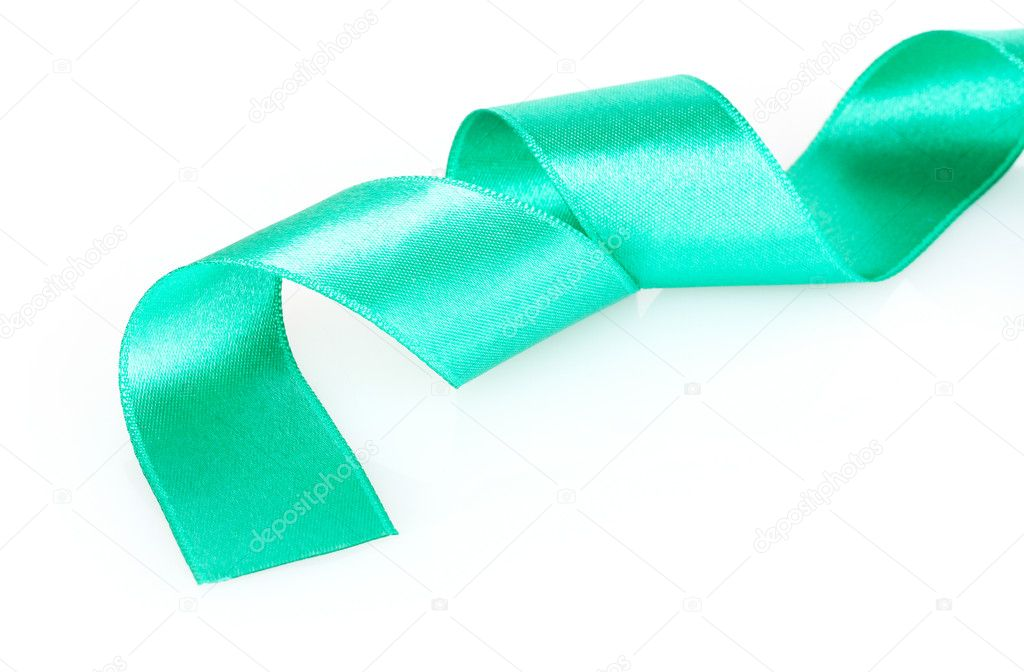 Beautiful satin green ribbon green isolated on white  Stock Photo #6799943