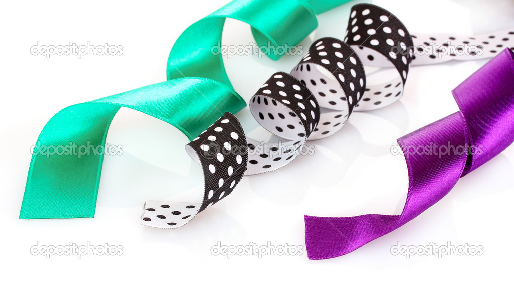 Many beautiful bright satin ribbons isolated on white — Stock Photo #6799951