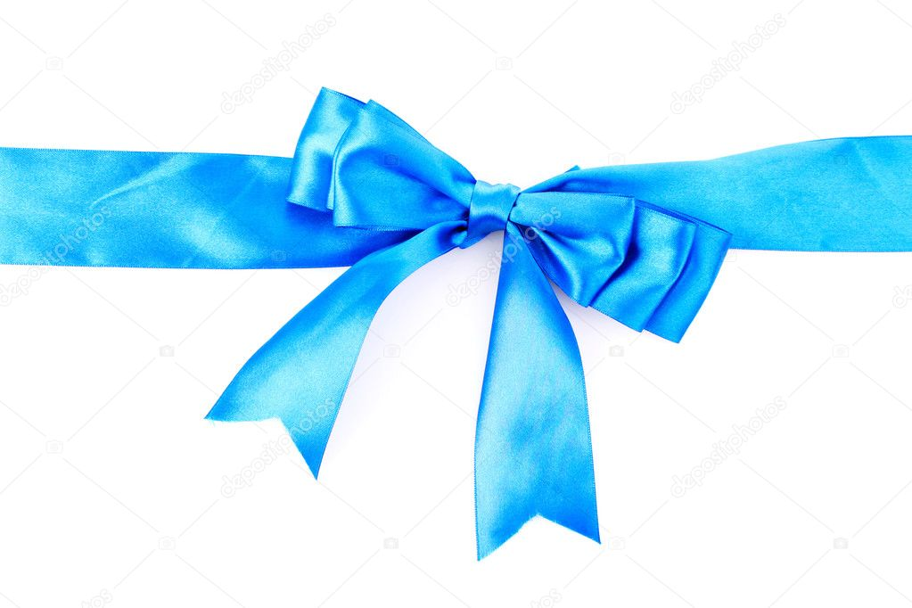 Gift blue ribbon and bow isolated on white background — Stock Photo #6799957