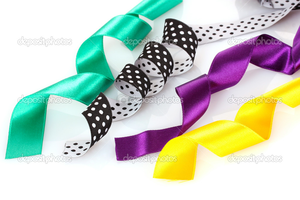 Many beautiful bright satin ribbons isolated on white  Stock Photo #6799960