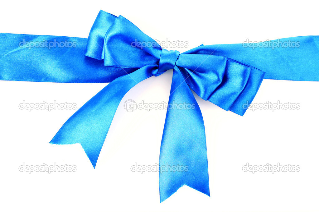 Gift blue ribbon and bow isolated on white background — Stock Photo #6799970