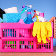 Cleaning supplies in basket on blue background — Stock Photo #6800013