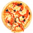Pizza with olives and tomatoes closeup — Stock Photo #6800075