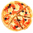 Pizza with olives and tomatoes closeup — Stock Photo