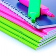 Royalty-Free Stock Photo: Bright notebooks and markers