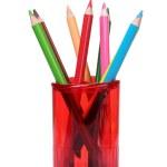 Bright pencils in holder — Stock Photo