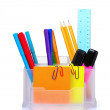 Pencils and pens in holder and the line — Stock Photo #6800201