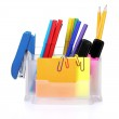 Pencils and pens in holder and the line — Stock Photo #6800211