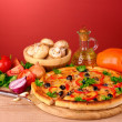 Pizza and vegetables — Stock Photo