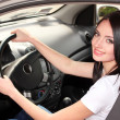 Royalty-Free Stock Photo: Young brunette woman in new car