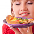 Stock Photo: Beautiful woman with pizza over white