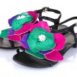 Beautiful summer sandals with flower isolated on white — Stock Photo #6805473