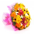 Bouquet of color summer flowers on white — Stock Photo
