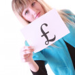 Girl with currency symbol — Stock Photo